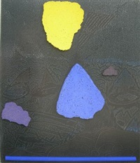 abstract with blue and yellow forms by karel nel