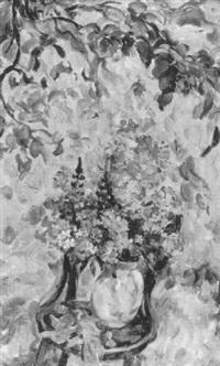 blumenstilleben unter bäumen by eugenia antipova