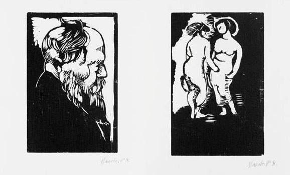 deux femmes nues en pied homme barbu de profil 2 works by manolo manuel hugue