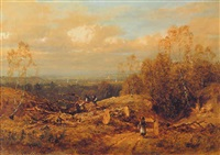 woodcutters in an extensive landscape by joseph murray ince