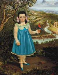 niña con un vestido azul con un párajo by horacio rentería rocha