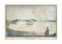 an east view of the great cataract of niagara. / done on the spot by thomas davies capt royal artillery. / the perpendicular height of the fall 162 feet breadth about a mile & quarter / the variety of colours in the woods shews the true nature of the count by thomas davies