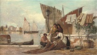 mending sails on a venetian quay by heinrich rasch
