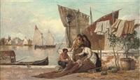 mending sails on a venetian quay by heinrich rasch