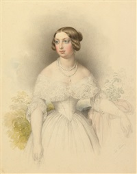 bildnis einer dame in weißem kleid mit perlenkette by johann nepomuk ender