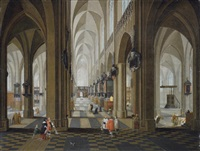 a church interior with elegant company in the nave and aisle by peeter neeffs the elder