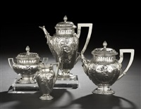 four seasons pattern coffee and tea service (set of 4) by j.d. schleissner sohne (co.)