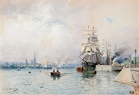 harbour view, paris by james macdonald barnsley
