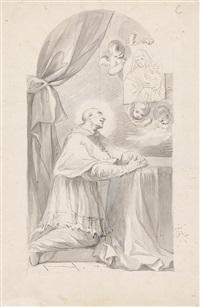 hl. carlo borromäus, vor einem altar knieend by gottfried bernhard goetz