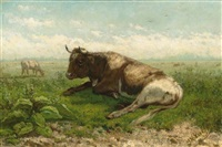 resting cow by jan vrolijk
