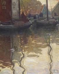 herfstochtend aan de haven; the harbour of volendam by willy sluijter