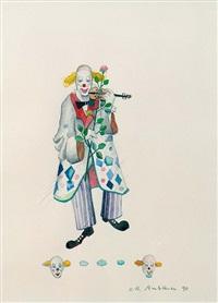 clown mit geige und rose by hans-rudolf ambauen