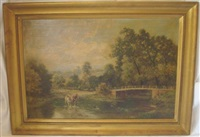crossing the stream and lakeland scene (2 works) by william langley