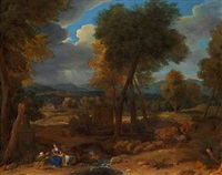 rest on the flight into egypt by nicolas poussin