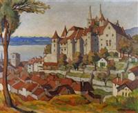 schloss und kathedrale von neuchâtel im sonnenschein by louis joseph vonlanthen