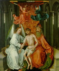 the risen christ held by an angel and god the father by colijn de coter
