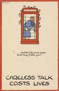 careless talk (group of 8) by fougasse (cyril kenneth bird)