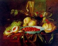 stilleben mit pfirsichen, erdbeeren, weintrauben, einer taschenuhr und einem glas wein by pieter de ring