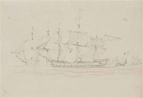 shipping on the thames or medway by john constable
