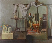 self portrait with lay figure by john stanton ward