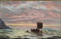 view from greenland with inuits in their boats in the sunset by carl (jens erik c.) rasmussen
