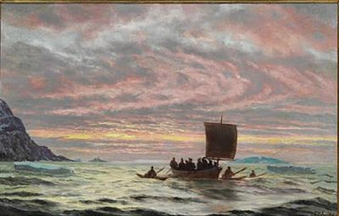 view from greenland with inuits in their boats in the sunset by carl jens erik c rasmussen