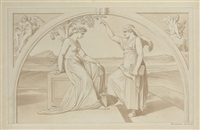 sappho instructing a pupil, drawn in a lunette with angel musicians in the spandrels by bonaventura genelli
