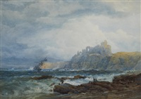 shipwreck on rocks below tantallon castle by edward duncan