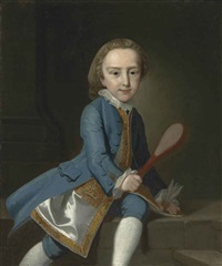 portrait of a child, three-quarter-length, with a badminton racquet and shuttlecock, a column beyond by thomas hudson