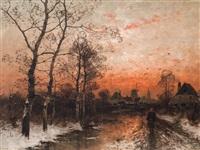 winter in the village by heinz flockenhaus