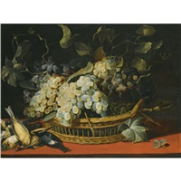 a still life with black and white grapes in a basket with a kingfisher and other dead birds on a ledge by frans snijders
