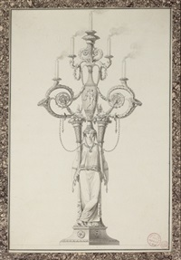 design for an elaborate candelabrum with a classical figure holding two cornucopia by jean guillaume moitte