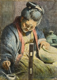a japanese woman decorating a pot by mortimer luddington menpes