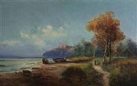 bord de lac en montagne by alfred godchaux