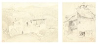 un moulin au pied des montagnes d'auvergne (2 works) by paul huet