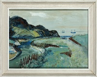 a cornish coastal scene with river estuary and boats at sea by fred yates