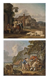 figures outside an inn, with a sow and piglets, houses beyond (+ figures sharpening a scythe, with two donkeys, farm buildings beyond; pair) by peter la cave