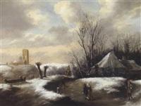 winterliche dünenlandschaft mit reisenden by gillis rombouts