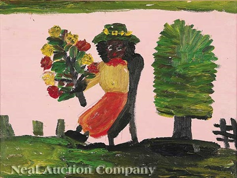Seated Woman With Bouquet Of Flowers By Clementine Hunter On