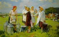 young milkmaids by sergei yakovlevich dunchev