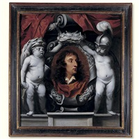 portrait of a royalist general (the earl of sandwich?) supported by putti dressed as minerva and hercules by isaac fuller
