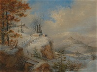winterlandschaft mit kreuzwegstation by theodor petter