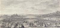 vue de l'orangerie de versailles, prise de la balustrade au bord de la terrasse du château by jacques rigaud
