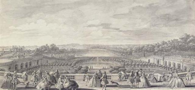 vue de lorangerie de versailles prise de la balustrade au bord de la terrasse du château by jacques rigaud