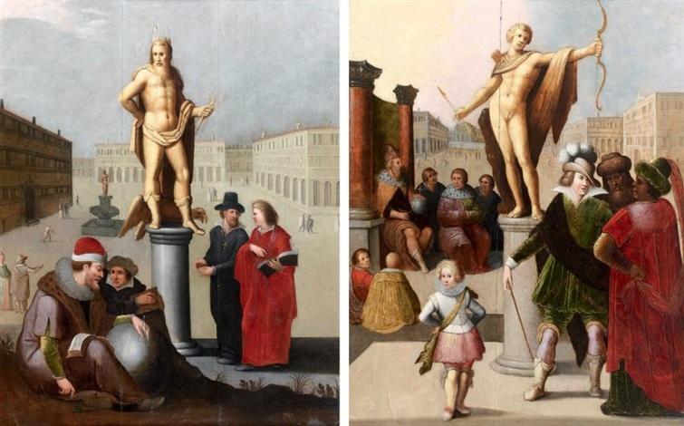 jupiter ou les sciences et apollon ou les honneurs 2 works by louis de caullery