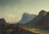 a farmstead by a norwegian fjord by harald (sten h.) torsslow