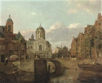 a capriccio townscape with houses and a baroque church on a canal by johannes huibert (hendric) prins