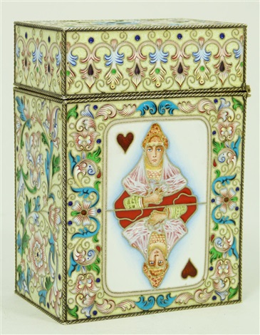 russian enameled silver hinged card box