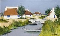 maisons et petit canal en camargue by robert humblot