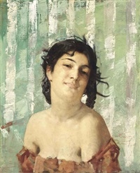portrait of an italian girl by aime nicolas morot